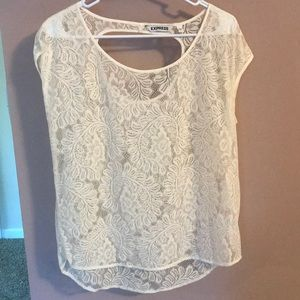Express Ivory Lace Capped Sleeve Top